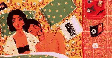 Two people lie together on a bed with a yellow patterned cover. One looks into the distance, the other rests their head gently on the first person's shoulder, eyes closed. They share a pair of earphones, connected to a laptop placed beside them.