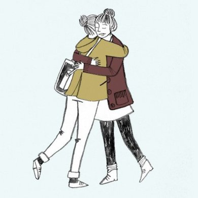 A drawing of two people hugging each other. They both have their hair tied in buns and wear coats.
