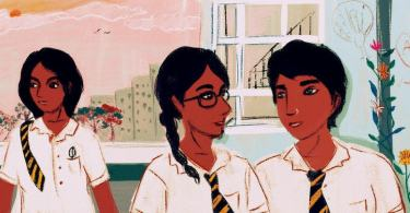 Two people stand together looking at each other. One wears a plait and glasses, the other has short hair and a nose ring. They are both wearing a school uniform. A third person stands behind them, looking to the side. In the background are buildings, plants, and a graffiti covered wall.