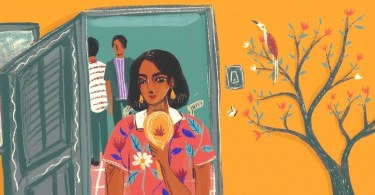 In the centre of an image is a person sitting on a wheelchair, holding a small mirror to their face and looking down at their reflection with a smile. They stand in front of an open door, with two others in the background. The wall behind them is yellow, and a bird sits on a blooming tree.