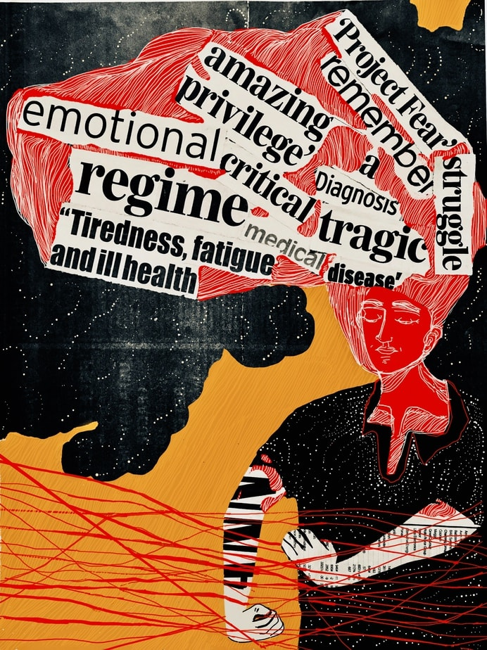 The image shows a figure wearing black standing to the right of the frame, their arms slightly outstretched. They are grasping onto the many red threads that criss cross in front of them. Their face and hair is also red, and black coloured words cut out of newspaper are placed on the hair such that they look like thoughts. The background of the top half of the image is black with white trails of dots, just like the figure's clothes, while the bottom half is orange with light brown streaks.