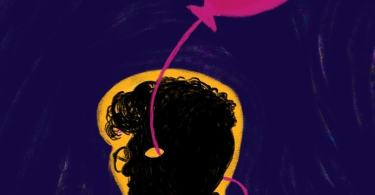 Image is portrait of a darkened, sketched silhouette of a figure with curly hair and wearing glasses, facing our left. A pink balloon floats above their head, the string passes through their left eye and goes from the back of their head, over their shoulder and meets the heart. The various chambers and blood vessels of the heart are drawn with several colours. A chrome yellow layer outlines the silhouette; the background is a deep violet with streaks of pink.