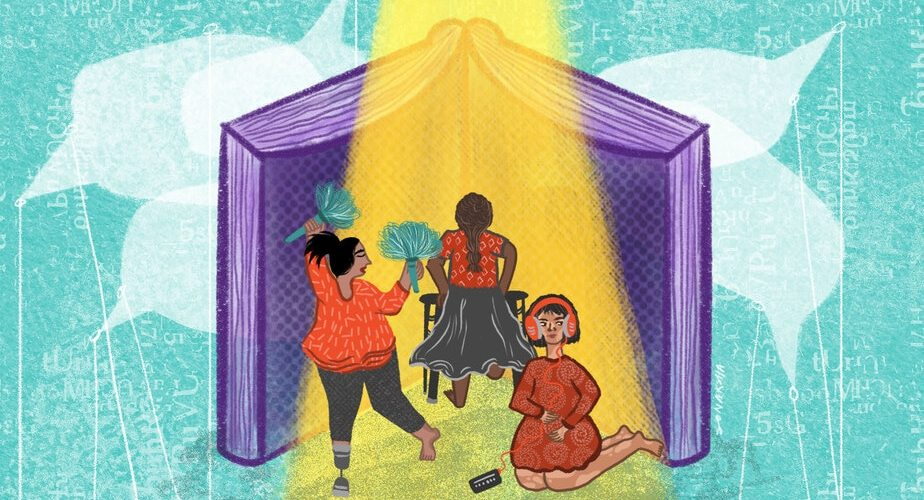 Description: Three children play under a spotlight against the background of a large, purple book. One of them dances, holding blue pom poms, and wearing a prosthesis on one of their lower legs. The second stands with their back to us, holding a walker. The third sits on the floor, wearing headphones attached to a device. The turquoise background features speech bubbles.