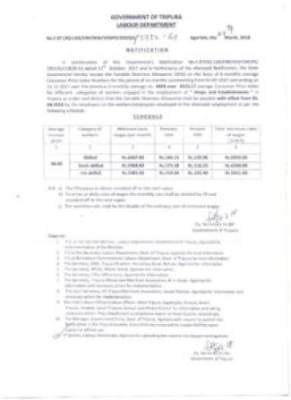 Revised Minimum Wages Tripura
