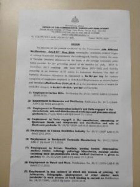 Revised Minimum Wages Goa