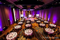 Great shot of the ballroom set up for a reception.