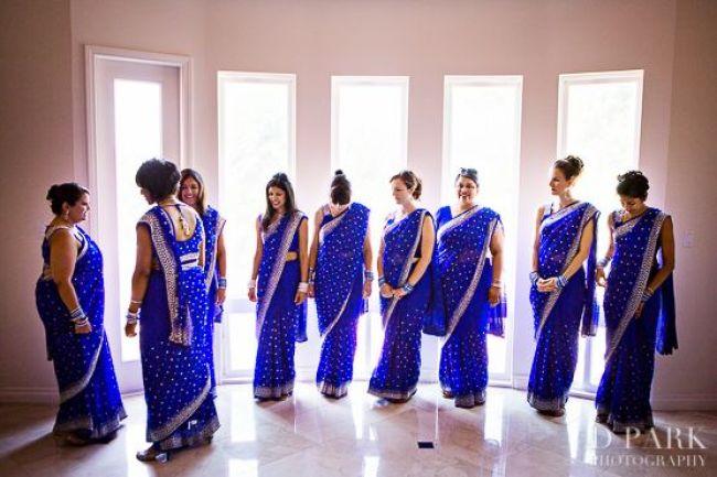 Mamta-Steve-Indian-wedding-venue-bridesmaids-saris-blue-Hindu-ceremony-fusion-wedding-blue-mandap