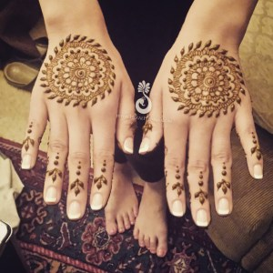 Mehndi on the outer part of an Indian bride's hands