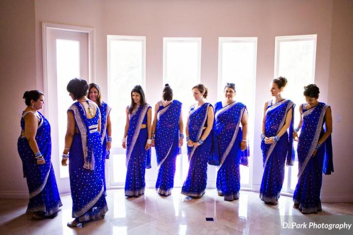 Bridesmaids saris were made in India. Mamta made arrangements for all of them to have their hair and sari's done.