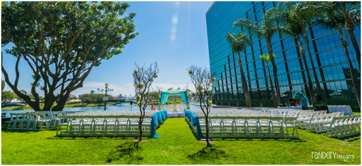 Indian wedding ceremony on the lakeside lawn at the Hyatt Regency Long Beach