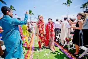 Indian destination wedding Maui bride and groom walking down the aisle