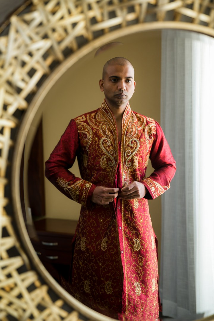 Newport-Beach-Marriott-Indian-Wedding-Photography-groom-sherwani-red-gold-Artesia-shopping