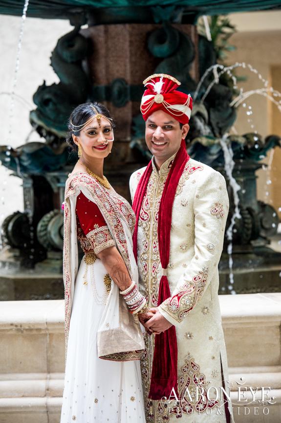 Reha-Vijay-Newport-Beach-Marriott-South-Asian-wedding-Indian_wedding-Hindu-Jain-North_Indian-Gujarati-lehenga-sera-fountain-The-Atrium-
