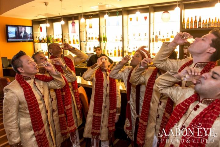 Indian-wedding-dupattas-drink-shot-groomsmen-kurta-sam-harry-sera-