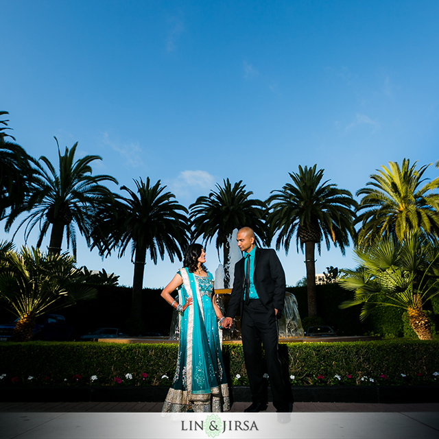 indian-wedding-Newport-Beach-Marriott-fountain-bride-groom-photoshoot