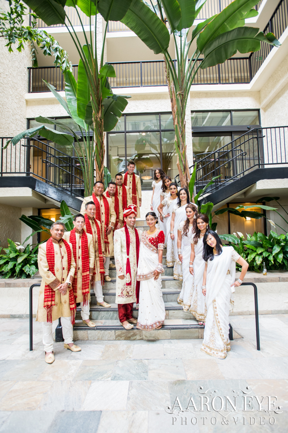 Reha-Vijay-Newport-Beach-Marriott-South-Asian-wedding-Indian_wedding-Hindu-Jain-North_Indian-head-table-ballroom-Aaron-Eye-Photography-bridal-party-Atrium