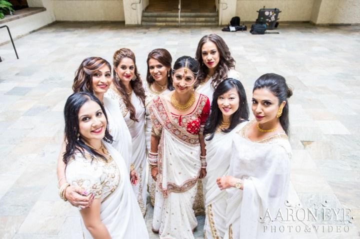 Reha-Vijay-Newport-Beach-Marriott-South-Asian-wedding-Indian_wedding-Hindu-Jain-North_Indian-head-table-ballroom-Aaron-Eye-Photography-brideamaids-dulhan