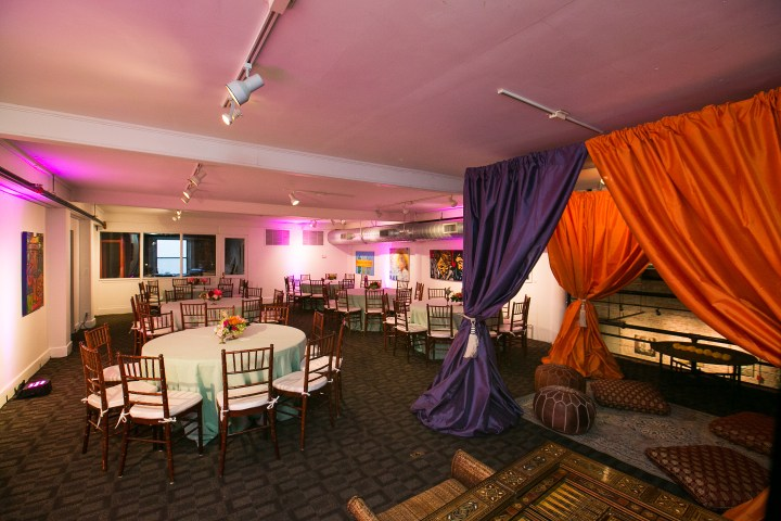 Indian wedding sangeet chiavari chairs and drapes