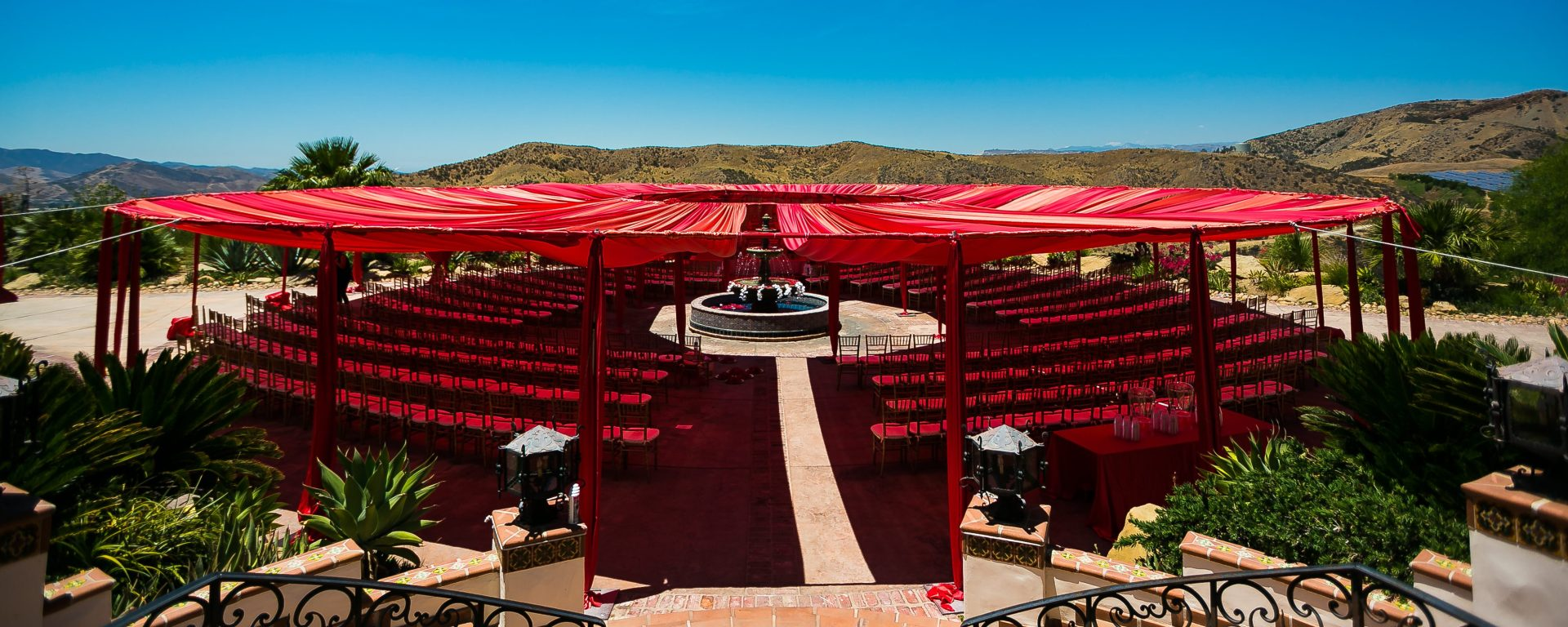 Indian wedding ceremony setup with a rent canopy.