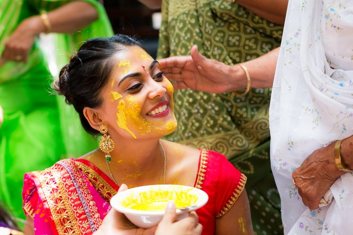 Haldi or pithi ceremony as it's called in Gujarati ceremony for the bride