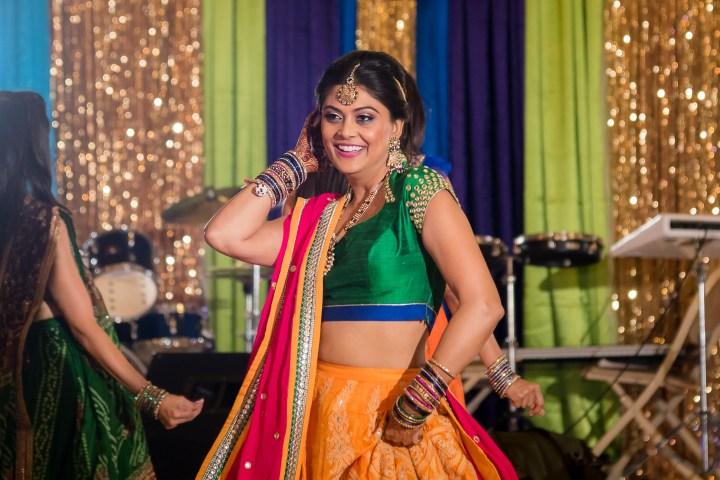 The bride's garba chaniya choli worn at the garba function the day before her Gujarati Indian, Hindu wedding