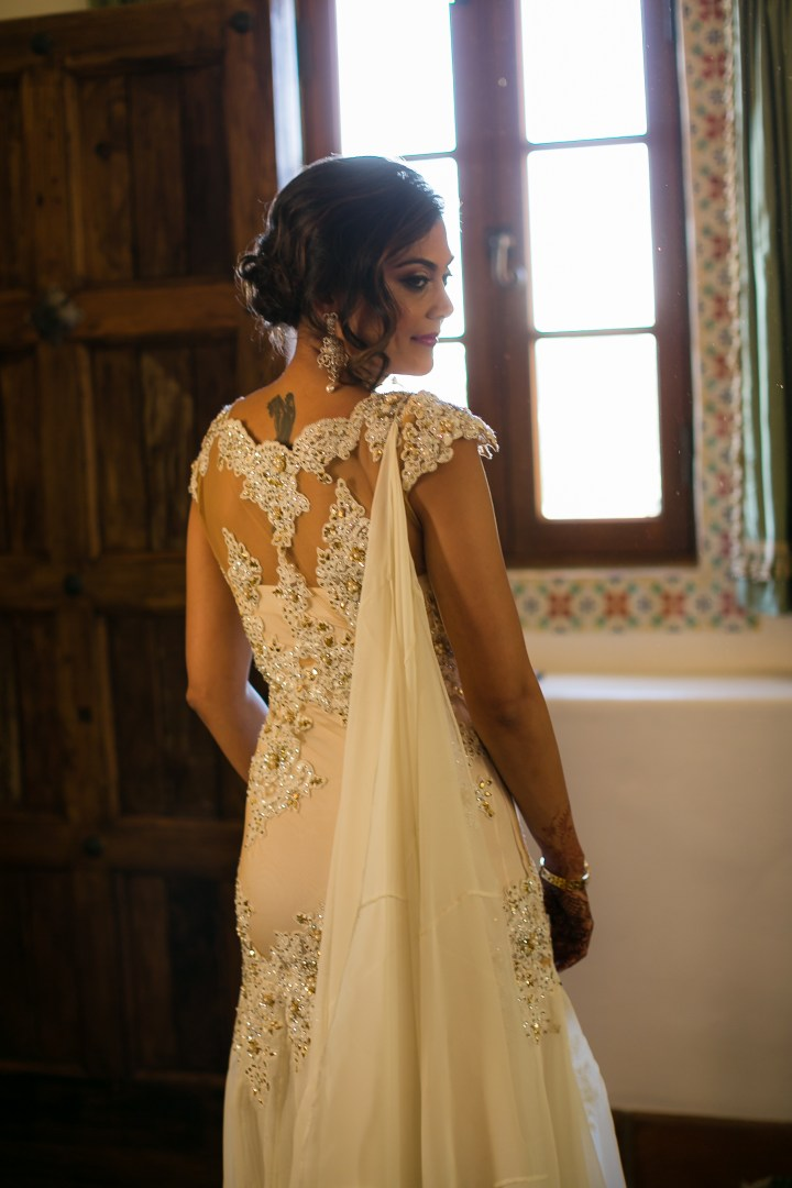 Bride in her wedding reception gown made in Mumbai