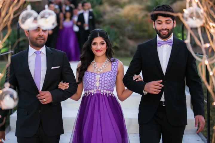 Bridesmaid and groomsmen at this Gujarati, Indian wedding reception at Hummingbird Nest Ranch.