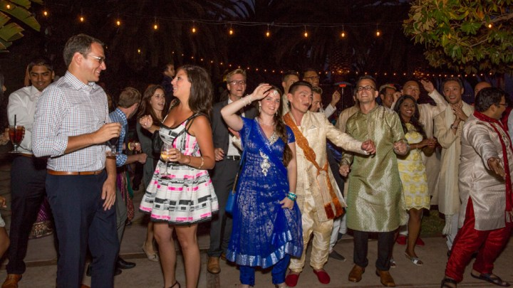 Guests dancing at an Indian wedding reception