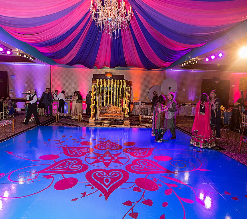 sangeet at Hilton Woodland Hills with blue decorated dance floor