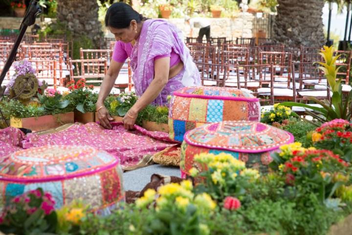 Setting up the mandap at an Indian wedding