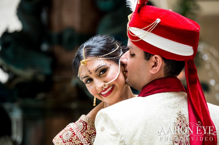 Romantic shots of an Indian couple on their wedding day.