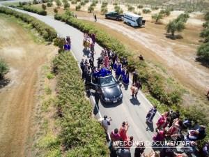 The groom's baraat making its way to the Indian, Hindu wedding ceremony.