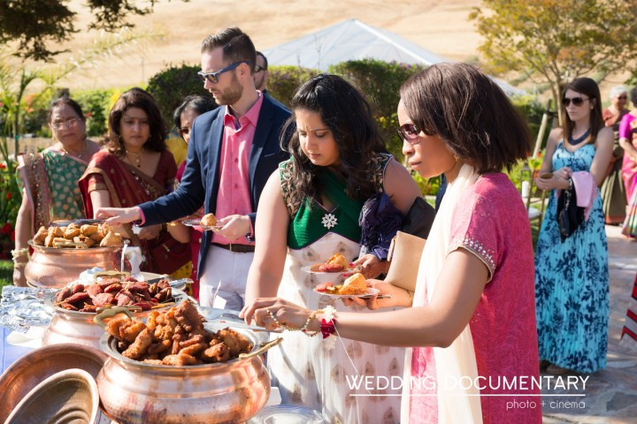 Indian food buffet line at Indian wedding