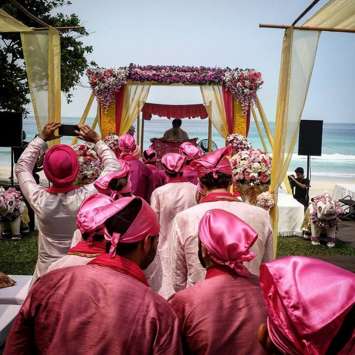 seating at the Anabd Karaj Sikh Indian Punjabi wedding ceremony on the beach in Phuket Thailand