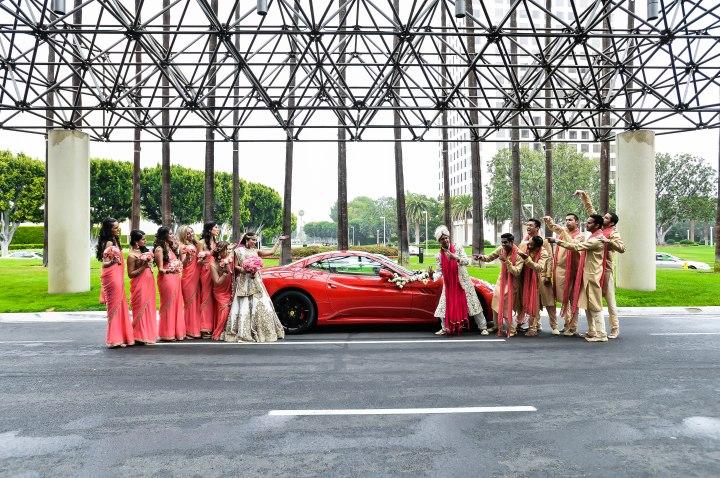 Neena-Chintan-Indian-wedding-venue-Hotel-Irvine-wedding-ceremony-baraat-bridal-party-sari-bridesmaids