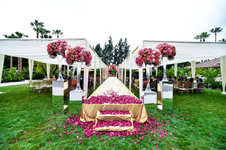 Indian wedding Hindu ceremony seating, canopy and mandap