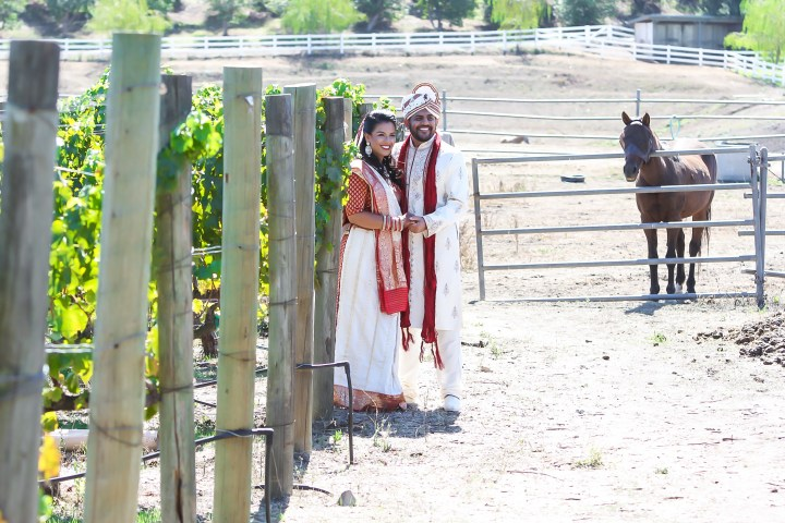 Rakhee-Amrish-gift-exchange-Indian-wedding-venue-photography-Greycard-Hindu-outdoor-dresses-bride-groom-vineyard-South-Asian-wedding-bride-groom-ranch-horse