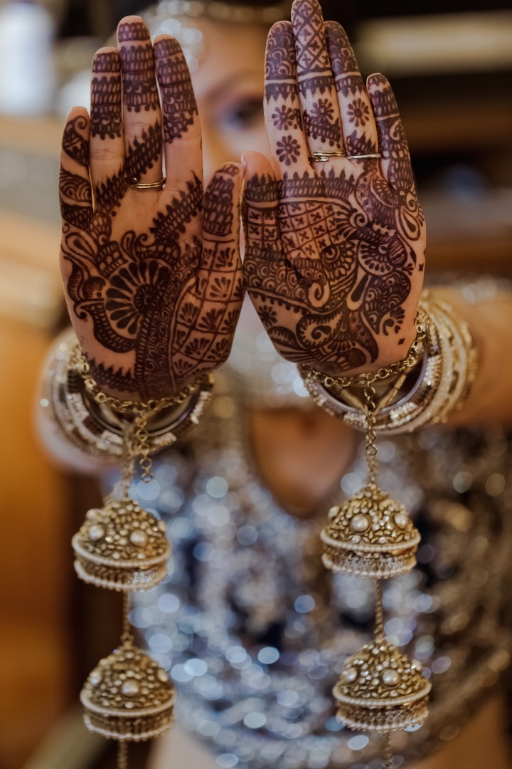 Mehndi on an Indian bride's hands