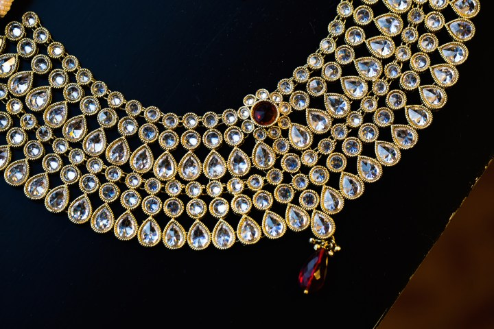 Indian bride's jeweled necklace