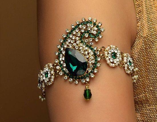Green jewel encrusted women's arm band wedding jewelry