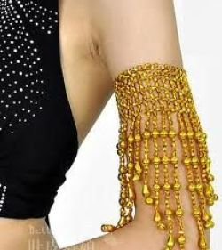 Gold layered strands long arm band