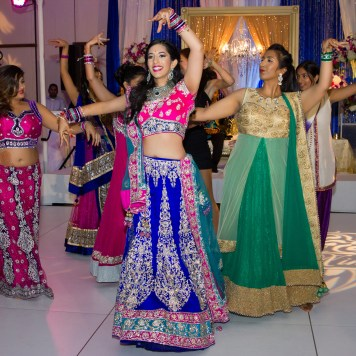A couple bridesmaids kept their anarkali on for the reception.