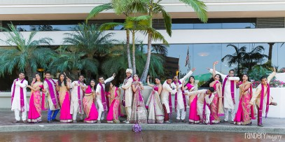 Indian wedding photoshoot at the front of the Hilton Orange County/Costa Mesa.