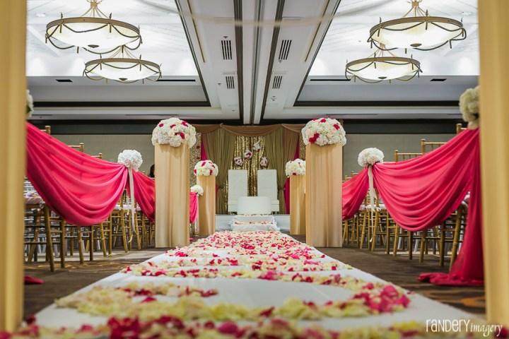 Indian wedding ceremony inside a ballroom at the Hilton Costa Mesa Orange County