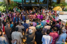 An Indian wedding baraat outside of the Hilton Orange County/Costa Mesa. The hotel has a private circular driveway and valet area that's perfect for a baraat.