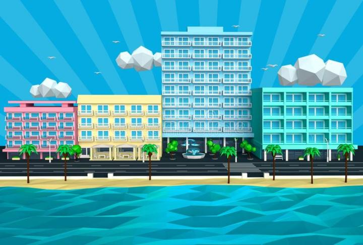 illustration-tropical-island-beach-street-hotels-d-summer-sunny-low-poly-cartoon-view-sea-ocean-resort-55517005