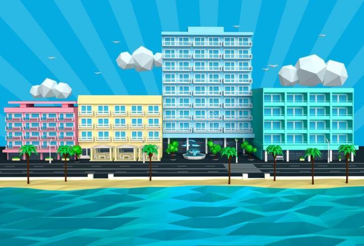 illustration-tropical-island-beach-street-hotels-d-summer-sunny-low-poly-cartoon-view-sea-ocean-resort-55517005
