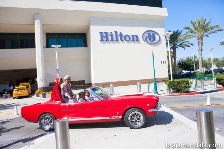 Indian couple's vidai at the Hilton Anaheim.