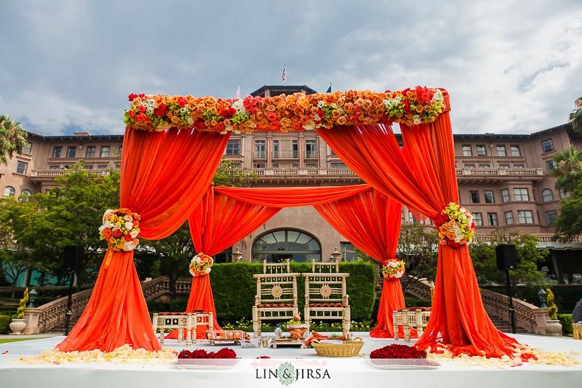 Indian wedding mandap at the Langham Pasadena