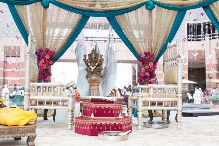 Indian wedding mandap at the Hilton Long Beach.